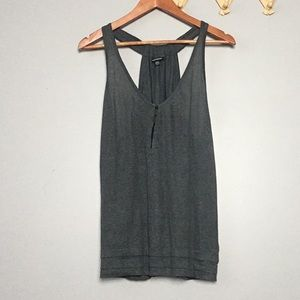 Club Monaco Gray Linen Tank Top Hook Eye